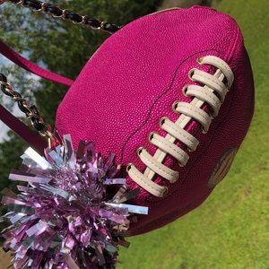 Betsey Johnson football crossbody bag Pom pink